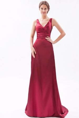 Red Column V-neck Brush Ruched Taffeta Bridesmaid Dress in Port Shepstone