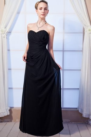 Black Empire Sweetheart Chiffon Ruched Dress for Bridesmaids in Port Alfred
