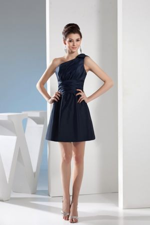 Navy Blue One Shoulder Bridesmaid Dress in Pietermaritzburg with Waistband