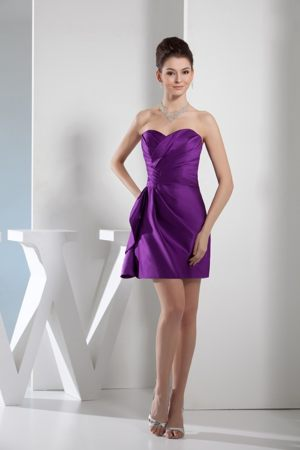 Elegant Purple Sweetheart Mini-length Pleated Bridesmaid Dresses in Paternoster