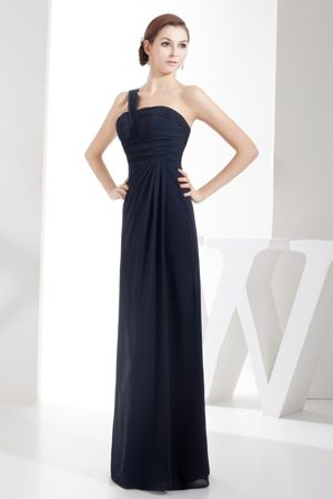 Column One Shoulder Navy Blue Dress for Bridesmaids in Paarl with Ruching