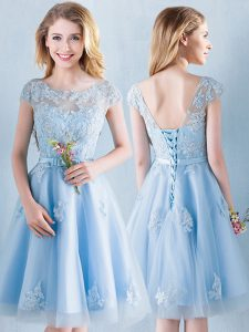 New Style Light Blue Scoop Lace Up Appliques and Bowknot Bridesmaids Dress Short Sleeves