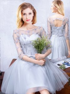 New Arrival Scoop Half Sleeves Knee Length Lace Up Wedding Guest Dresses Grey for Prom and Party and Wedding Party with Lace and Appliques and Belt