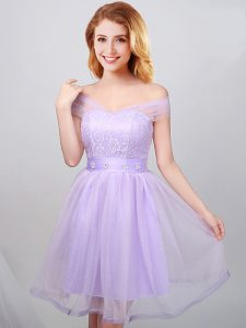 Custom Designed A-line Wedding Guest Dresses Lavender Off The Shoulder Tulle Short Sleeves Mini Length Lace Up