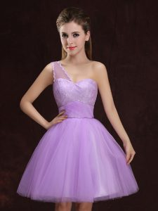 Eye-catching One Shoulder Sleeveless Tulle Mini Length Lace Up Bridesmaids Dress in Lilac with Lace and Ruching