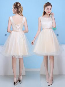 Dynamic Scoop Knee Length Lace Up Bridesmaid Dress Champagne for Prom and Party with Bowknot