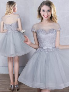 Perfect Scoop Tulle Short Sleeves Mini Length Bridesmaid Dresses and Appliques and Belt