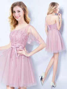Gorgeous Pink One Shoulder Lace Up Appliques and Belt Bridesmaid Dress Sleeveless