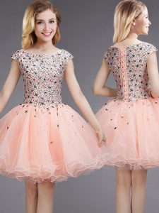 Pink Ball Gowns Organza Bateau Cap Sleeves Beading and Sequins Mini Length Lace Up Bridesmaid Dresses