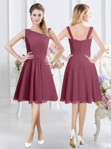 Chiffon Sleeveless Knee Length Bridesmaid Gown and Ruching