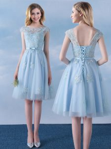 Stunning Scoop Cap Sleeves Wedding Guest Dresses Knee Length Appliques and Belt Light Blue Tulle