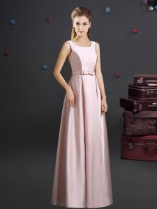 Sophisticated Square Floor Length Zipper Wedding Guest Dresses Pink for Prom and Party and Wedding Party with Bowknot