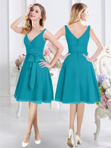Teal Empire V-neck Sleeveless Chiffon Knee Length Zipper Ruching and Belt Bridesmaid Dress