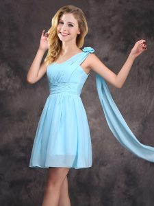 New Style One Shoulder Baby Blue Empire Ruching and Hand Made Flower Bridesmaid Dresses Zipper Chiffon Sleeveless Mini Length
