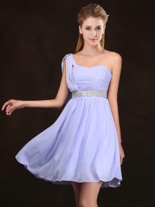 One Shoulder Sleeveless Sequins and Ruching Zipper Wedding Party Dress