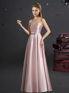 Elastic Woven Satin Sleeveless Floor Length Bridesmaid Gown and Bowknot