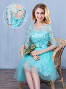Aqua Blue Empire Tulle Scoop Half Sleeves Lace and Appliques and Bowknot Knee Length Lace Up Wedding Guest Dresses
