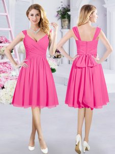 Modest Hot Pink Chiffon Zipper Straps Sleeveless Knee Length Wedding Party Dress Ruching and Belt