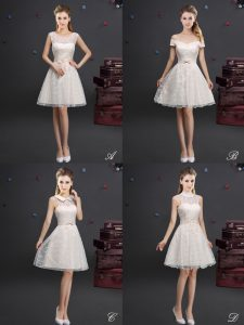 Affordable Off the Shoulder Champagne Lace Lace Up Bridesmaid Dress Sleeveless Knee Length Lace and Appliques