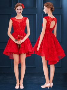 Scoop Red A-line Lace Bridesmaid Dresses Lace Up Lace Sleeveless High Low
