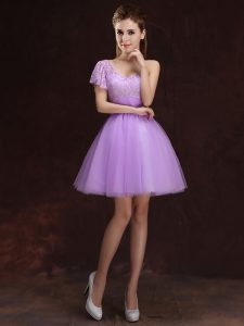 Lilac Lace Up One Shoulder Lace and Ruching Wedding Party Dress Tulle Sleeveless