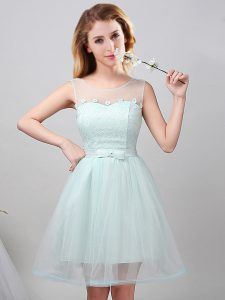 Fashion Scoop Sleeveless Mini Length Lace and Appliques and Belt Lace Up Bridesmaid Gown with Apple Green