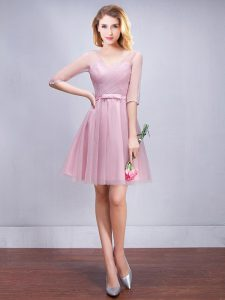 Amazing A-line Wedding Party Dress Pink V-neck Tulle Half Sleeves Mini Length Lace Up