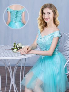 Sexy Off the Shoulder Aqua Blue Cap Sleeves Tulle Lace Up Bridesmaid Gown for Prom and Party and Wedding Party