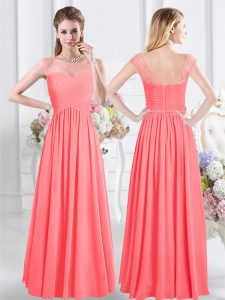 Watermelon Red Zipper Scoop Lace and Ruching Bridesmaid Dress Chiffon Cap Sleeves