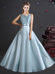 Empire Wedding Guest Dresses Light Blue Straps Elastic Woven Satin Sleeveless Floor Length Zipper