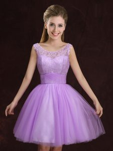 Nice Scoop Sleeveless Bridesmaid Dress Mini Length Lace and Ruching Lilac Tulle