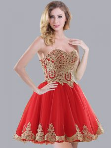 Hot Sale Appliques Wedding Party Dress Red Lace Up Sleeveless Mini Length