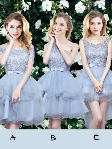 Free and Easy A-line Bridesmaid Dresses Grey Off The Shoulder Organza Sleeveless Mini Length Lace Up