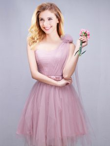 One Shoulder Mini Length Pink Wedding Guest Dresses Tulle Sleeveless Ruching and Bowknot and Hand Made Flower