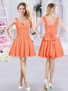 Inexpensive Orange Zipper Straps Ruching and Belt Bridesmaids Dress Chiffon Sleeveless