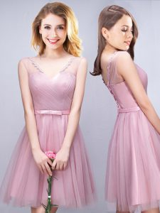 Deluxe V-neck Sleeveless Bridesmaid Gown Mini Length Ruching and Bowknot Pink Tulle