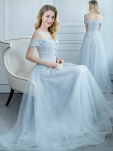 Chic Off the Shoulder Floor Length Empire Cap Sleeves Light Blue Wedding Guest Dresses Lace Up