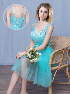 Colorful Aqua Blue Tulle Lace Up Wedding Guest Dresses Sleeveless Knee Length Lace and Appliques and Bowknot