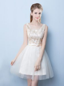 Free and Easy Champagne Bridesmaid Dress Prom and Party and Wedding Party with Sequins and Bowknot Square Sleeveless Lace Up