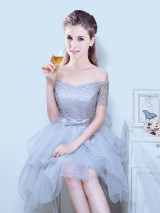 Wonderful Off the Shoulder Asymmetrical A-line Short Sleeves Grey Bridesmaid Dress Lace Up