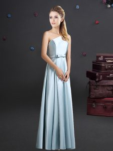 One Shoulder Light Blue Sleeveless Bowknot Zipper Wedding Party Dress