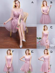 Pink Wedding Party Dress Prom and Party and Wedding Party with Ruffles and Ruching and Bowknot and Hand Made Flower Scoop Sleeveless Lace Up