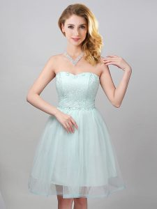 Flirting Lace and Appliques Wedding Party Dress Apple Green Lace Up Sleeveless Mini Length