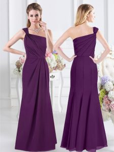 Attractive One Shoulder Floor Length Purple Bridesmaid Gown Chiffon Sleeveless Ruching