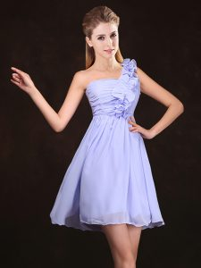 One Shoulder Sleeveless Chiffon Mini Length Zipper Bridesmaid Dress in Lavender with Ruffles and Ruching
