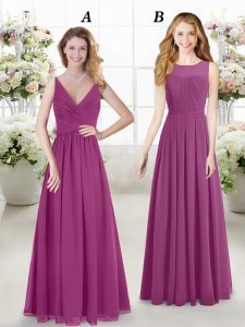 Excellent Fuchsia Chiffon Zipper Wedding Party Dress Sleeveless Floor Length Ruching
