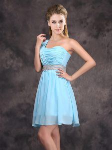 Baby Blue One Shoulder Neckline Sequins and Ruching Wedding Guest Dresses Sleeveless Zipper