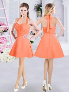 Orange A-line Chiffon Halter Top Sleeveless Ruching Mini Length Zipper Bridesmaid Dresses