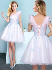Fashion White V-neck Neckline Appliques Wedding Party Dress Sleeveless Lace Up