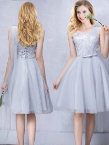 One Shoulder Grey A-line Lace and Appliques and Belt Wedding Guest Dresses Lace Up Tulle Sleeveless Knee Length